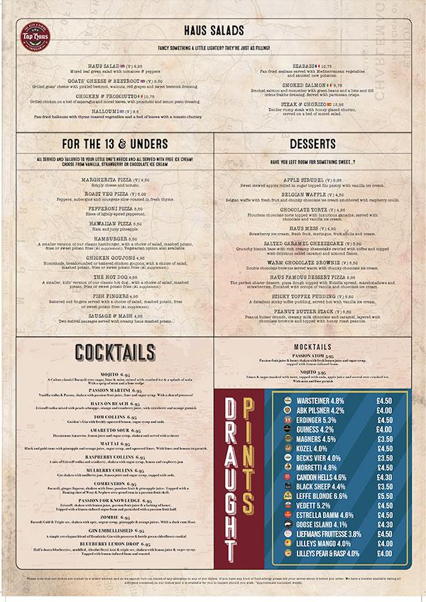 tap haus lunch menu